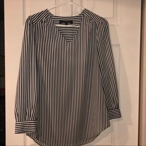 Cynthia Steffe Striped V-Neck Blouse